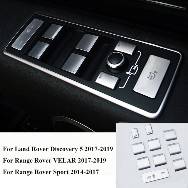10pcs Car Door Armrest Window Lift Button Cover Trim For Land Rover Discovery 5 For Range Rover VELAR 17 19 For RR Sport 14 17