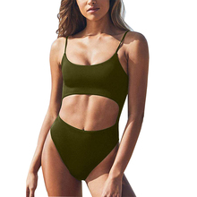 Womens Scoop Neck Monokini With Cut Out Front Lace-Up Back High Cut Bodysuit One-Piece Swimwear Solid High Waist Swimsuit цена в Москве и Питере