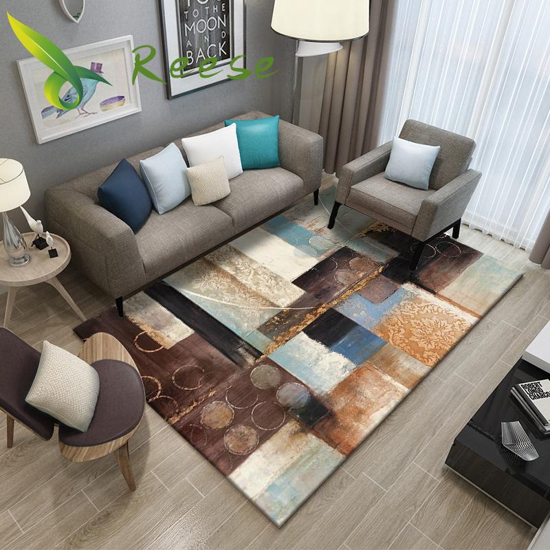 Simple Carpet Rug For Living Room Geometric Wood Floor Rug Non slip Antifouling Carpet For Bedroom Parlor Factory Direct Supply-in Carpet from Home & Garden