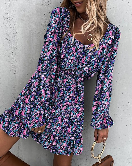 Spring Fashion Women's Long Sleeve Mini Dresses Square Collar and Elastic Waist Ruffle Flora Print Sweet Style Party Dress 2021 4