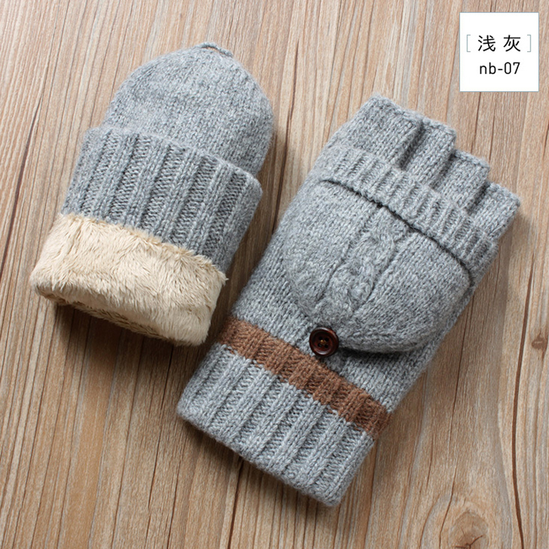 Winter Men Fingerless Gloves Knitted Wool Mittens Plus Velvet Thickening Winter Warm Mitten Male Flip Half Finger Driving Gloves