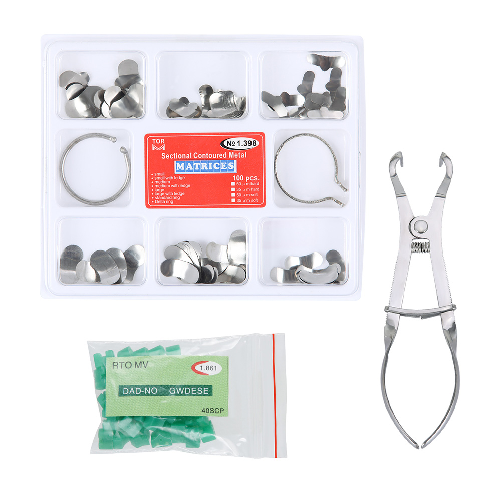 100Pcs Full Kit Dental Matrix Sectional Contoured Matrices +40 Pcs Silicone Add-On Wedges Dental Pliers