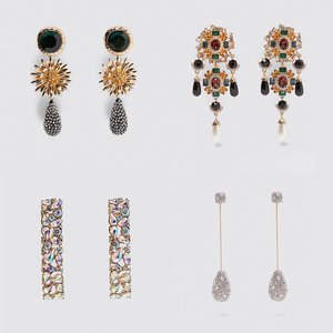 Miwens ZA, блестящие длинные висячие серьги с кристаллами для женщин, элегантные серьги-капли в форме цветка, массивные серьги, макси ювелирные ...