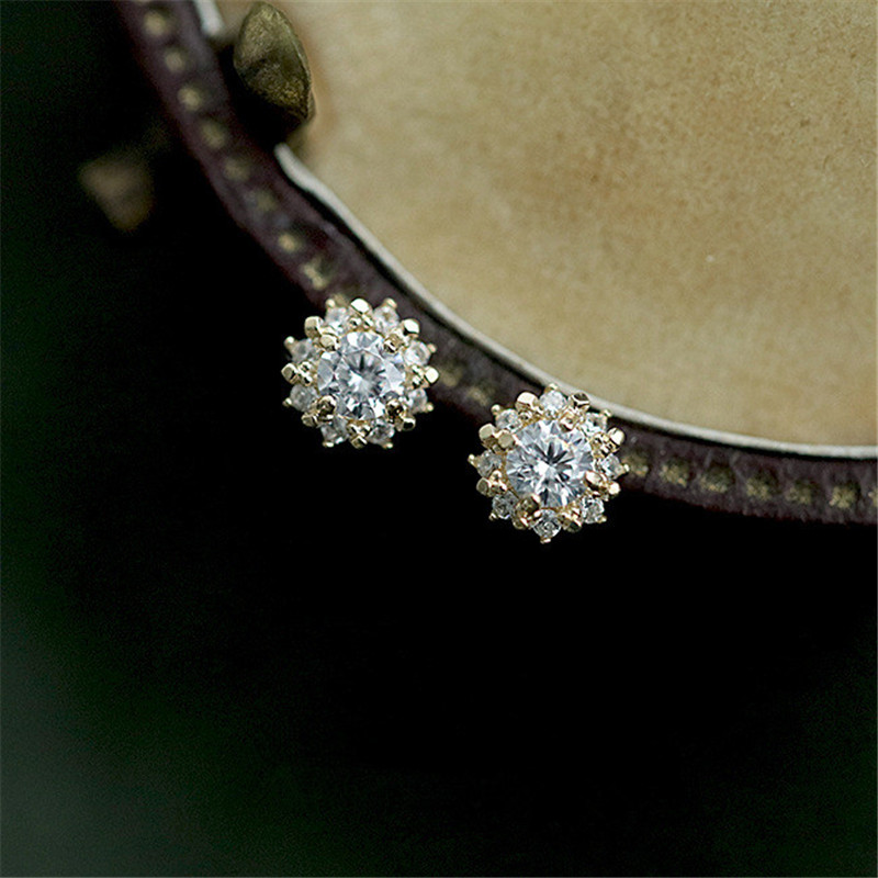 925 Sterling Silver Plated 14k Gold Plating Simple Sun Earrings Women Retro Court Style Exquisite Sweet Jewelry Accessories
