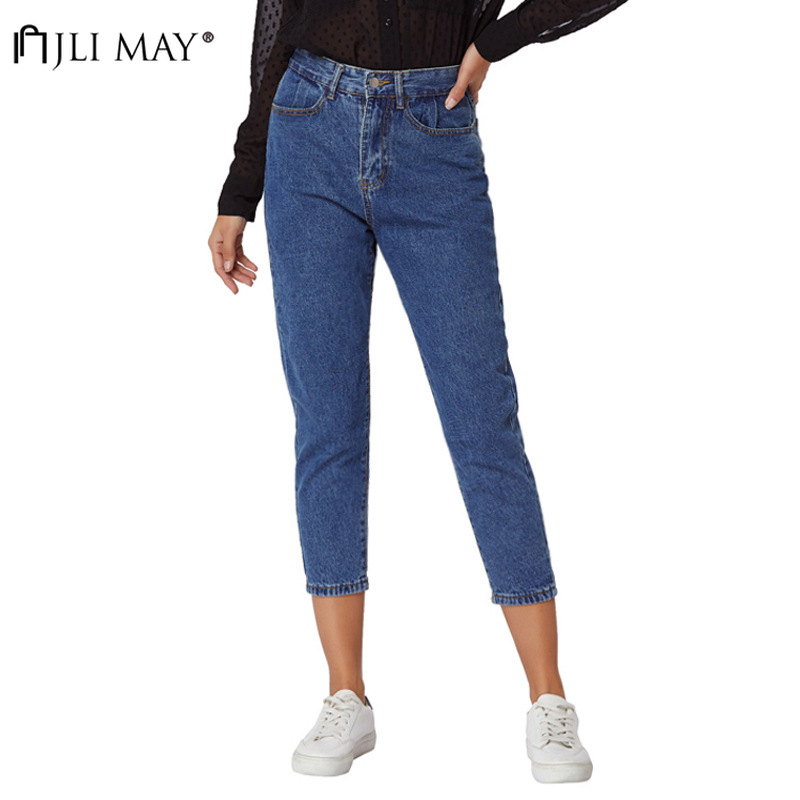 JLI MAY Womens Vintage Jeans Summer Casual Dark Washed Straight Zipper Fly Calf-Length Pants Mid Waisted Jean Streetwear