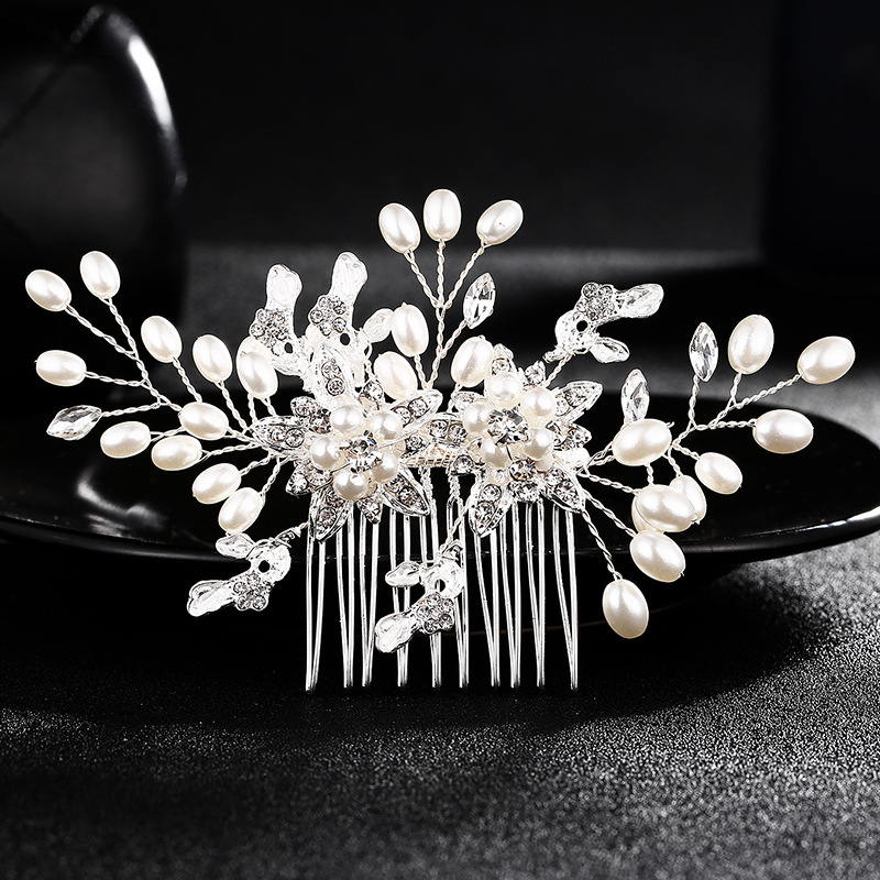 Pearls Wedding Headdress Handmade Bridal Hair Combs  Hair Jewelry Accessories Crystal Hair Clips Headpieces FS149