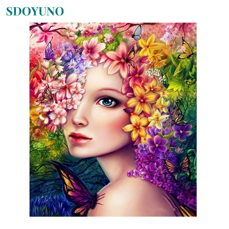 SDOYUNO 60x75cm Wall Pictures For Living Room DIY Painting By Numbers Flower And Girl On Canvas  Frameless For Home Decor