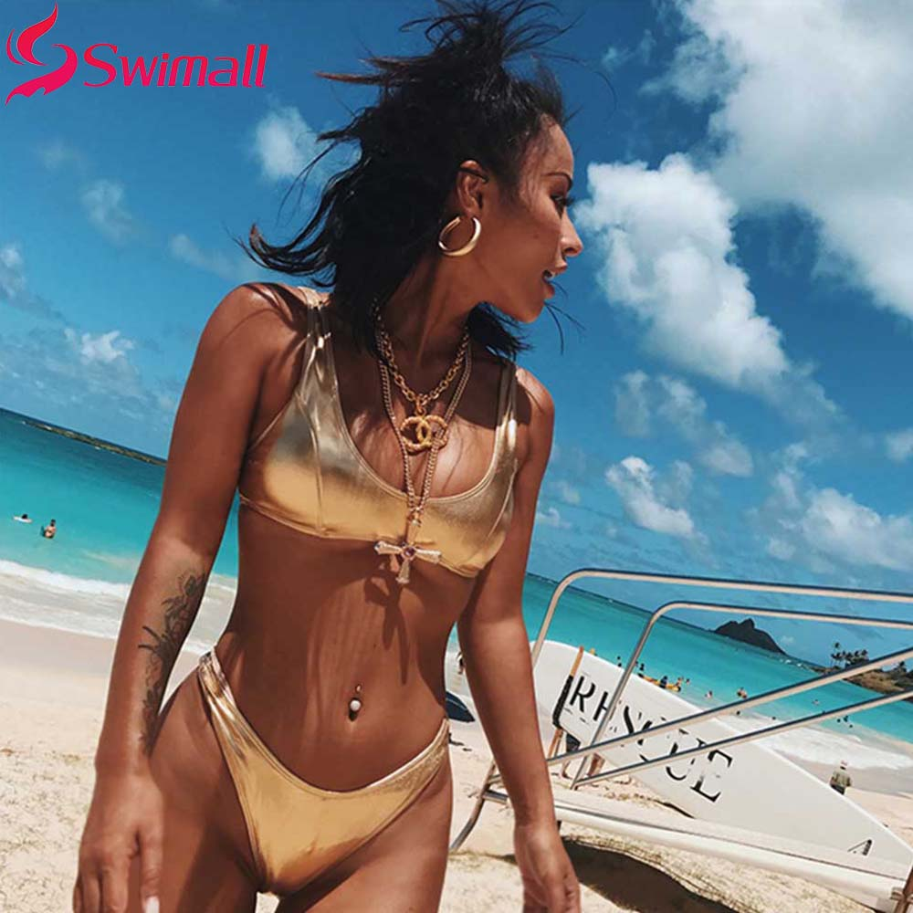 Shiny Bikini Solid Swimwear Women Push Up Swimsuit Brazilian Biquini Thong Bikinis Pad Bathing Suit Pink Maillot De Bain Pad