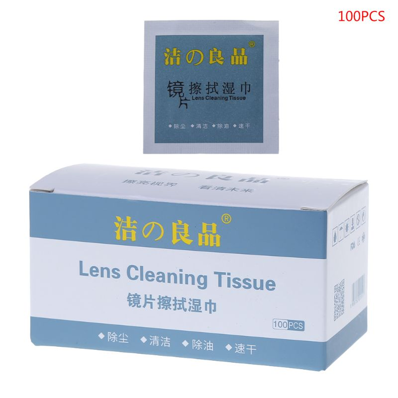 Glasses Cleaner 6x8cm Disposable Paper Wet Wipes Portable Lens Cleaning Phone Computer Screen Tissue Cloth Wiping Anti Dust Fog image