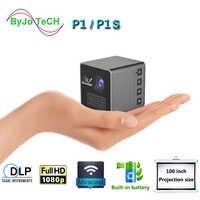 ByJoTeCH P1 projecteur Mobile P1or P1S poche maison film projecteur Proyector projecteur batterie Mini DLP projecteur mini projecteur LED
