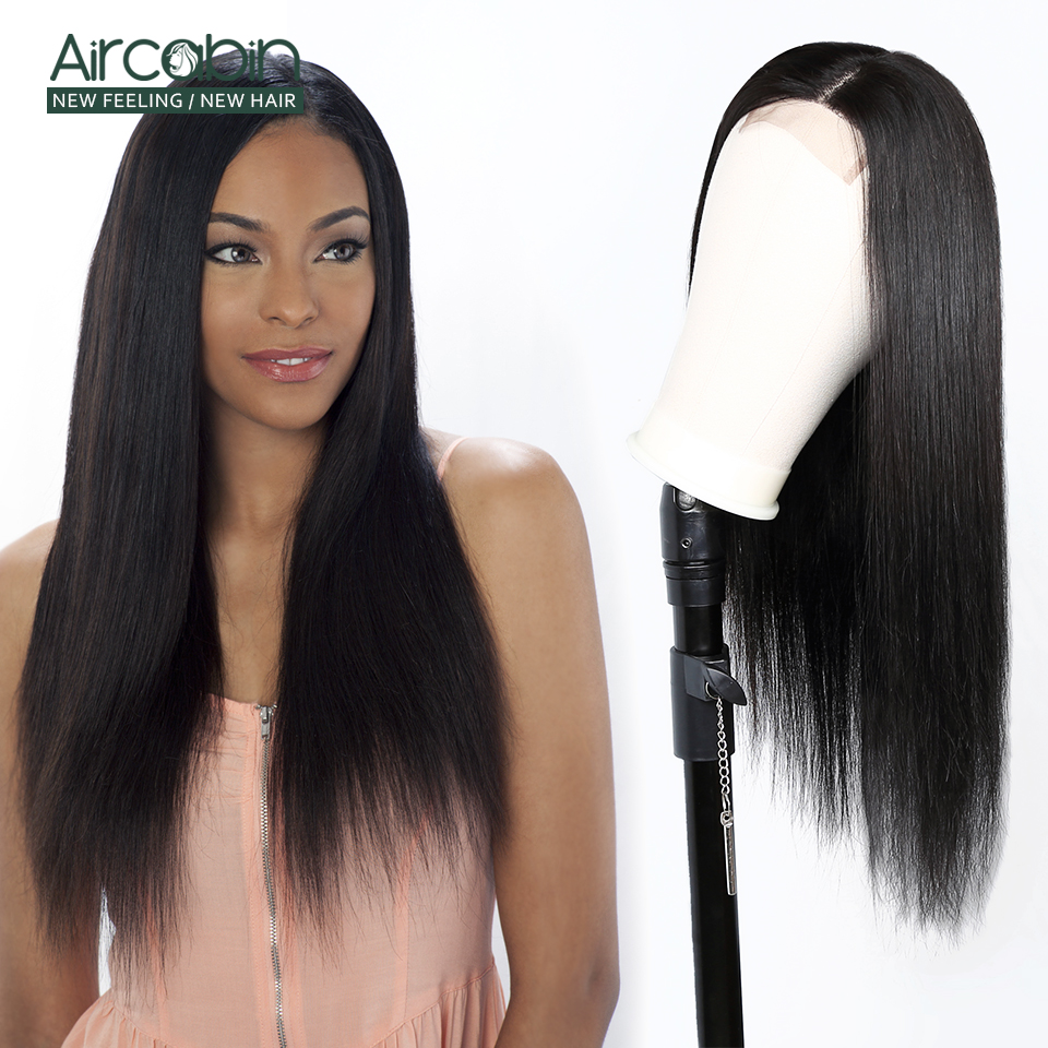 Aircabin 4x4 Lace Closure Wigs Straight Human Hair Wig 8