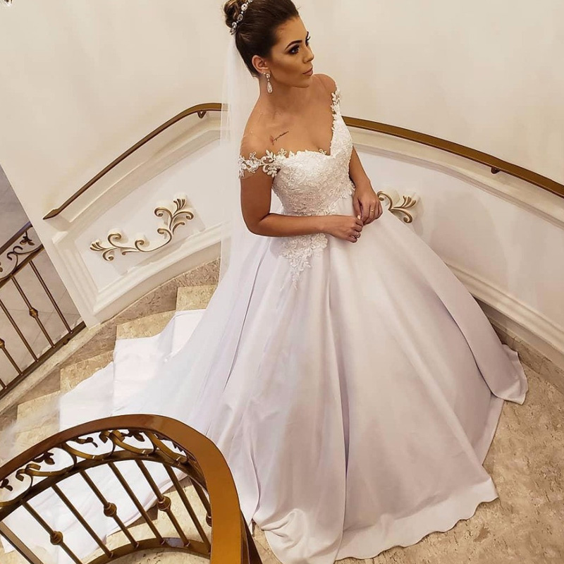 JIERUIZE White Satin Lace Appliques Pearls Wedding Dresses Cap Sleeves Ball Gown Bride Dresses Lace Up Back Wedding Gowns