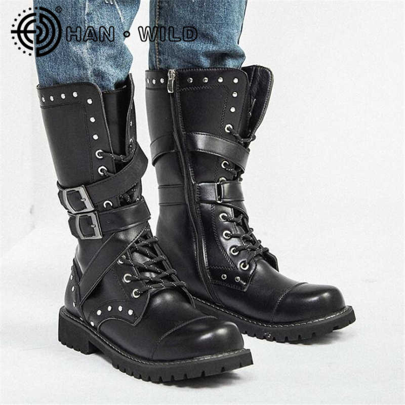 High Top Desert Tactical Military Boots Mens Leather Motorcycle Boots Army Combat Boots Fashion Male Gothic Belt Punk Boots Motorcycle Boots Aliexpress