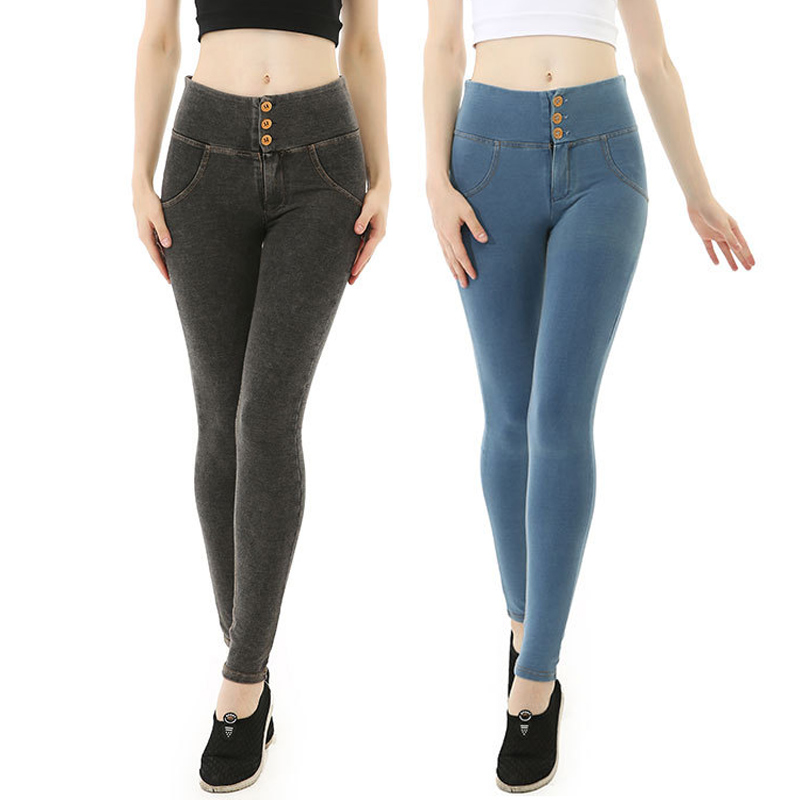 High Waisted Women Peach Jeans Push Up Skinny Pencil Pants Zipper Washed Denim Plus Size Sexy Jeans Female Workout Streetwear