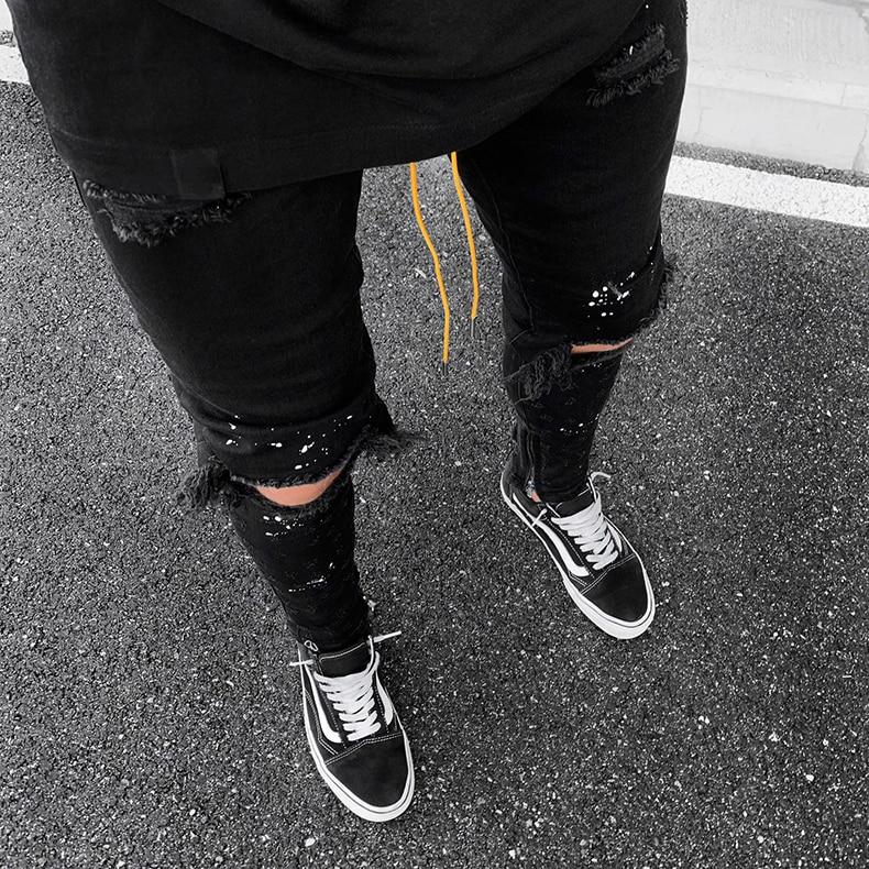 KSTUN Guys Ripped Skinny Jeans Knee Broken Holes Hip Hop Jeans Men Distressed Painting Black Blue 17