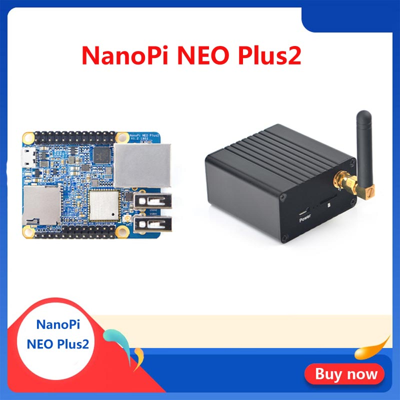 Friendly NanoPi NEO Plus2 All-in-one H5 Gigabit Ethernet Port IoT Development Board WiFi Bluetooth With Metal Case With Heatsink