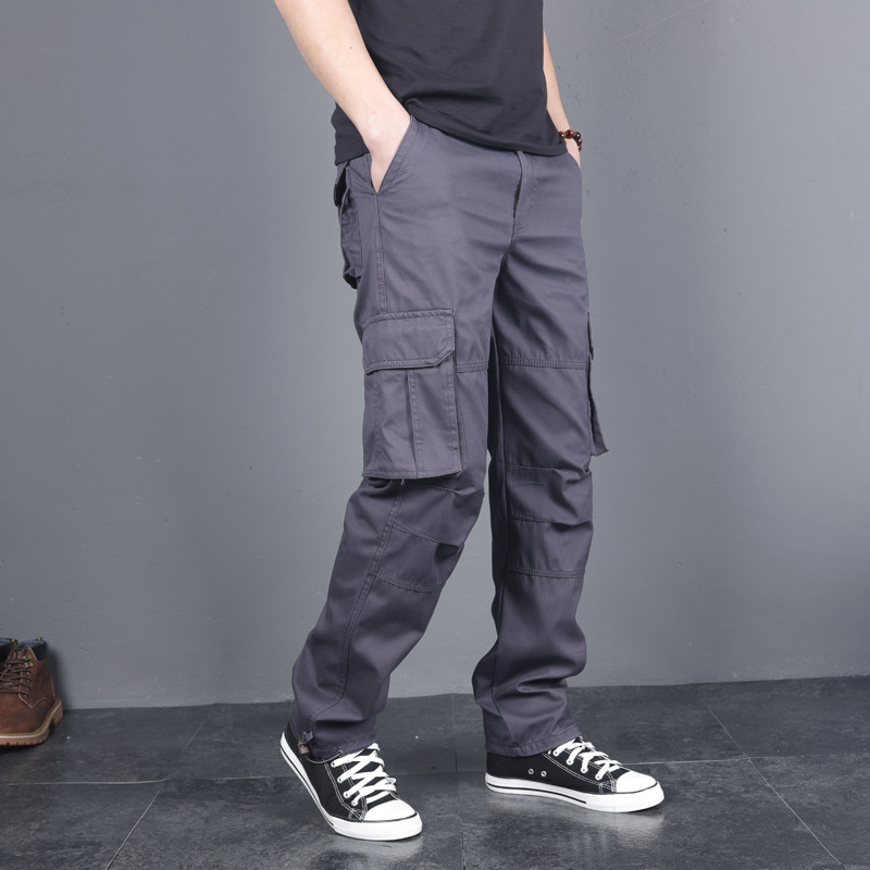 2019 Autumn And Winter Casual Pants MEN'S Trousers Bib Overall Men's Trend Loose Straight Cotton Pants Men's Bags Trousers