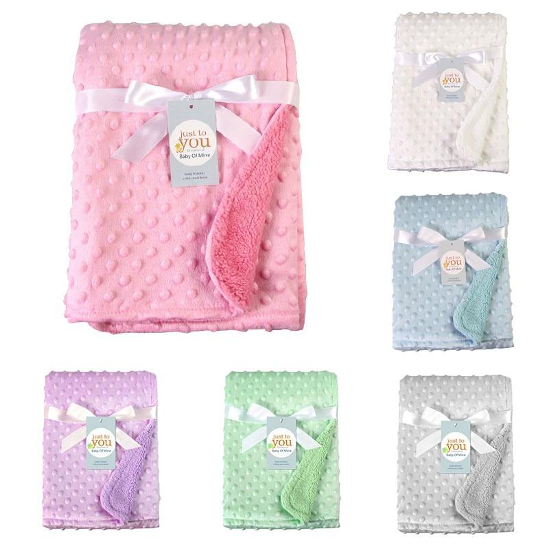 New Newborn Baby Blankets Warm Fleece Thermal Stroller Sleep Cover Solid Infant Bedding Wrap Kids Bath Towel