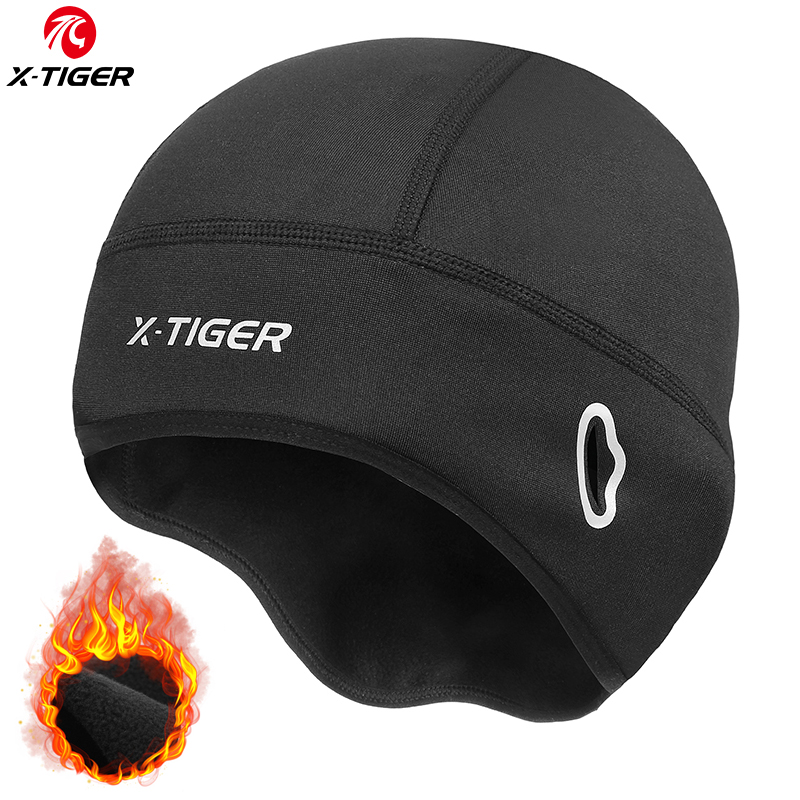 X-TIGER Fleece Cycling Caps Waterproof Bike Hats Winter Thermal Bicycle Cap Snow Road Bicycle Hats Sports Warm Cycling Headwear