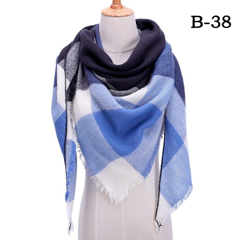 Женский зимний шарф в ретро стиле, кашемировые вязаные пашмины шали, женские мягкие треугольные шарфы, бандана, теплое одеяло, новинка - Цвет: bb38