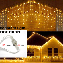 8m 48m Christmas Garland LED Curtain Icicle String Light 220V Droop 0.4 0.6m Mall Eaves Garden Stage Outdoor Fairy Lights