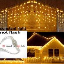 8m 48m Weihnachten Girlande LED Vorhang Eiszapfen String Licht 220V Droop 0,4 0,6 m Mall traufe Garten Bühne Außen Lichterkette