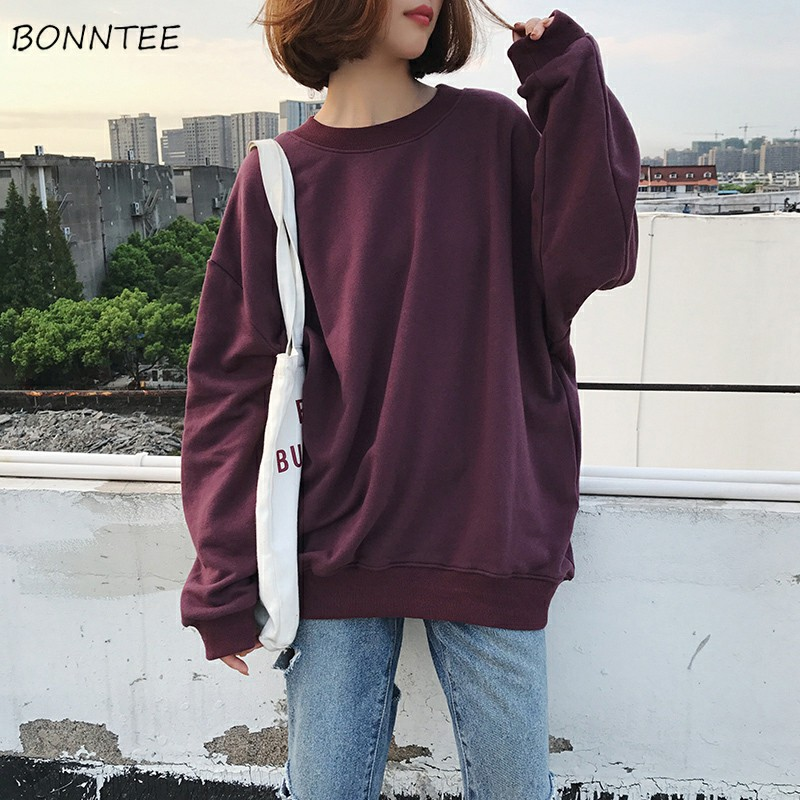 Hoodies Women O-Neck Solid Loose Harajuku Soft Ladies Korean Style Trendy Students Simple Thin Hoodie Casual BF Daily Womens New