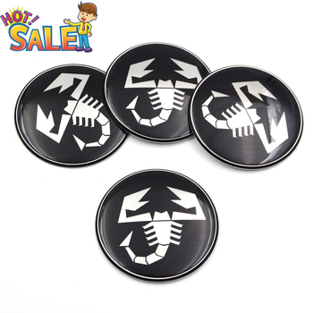 4pcs 50mm 56mm 60mm 65mm Stickers Scorpion Wheel Center Hubcap Abarth Sticker Emblem Badge Decal Car Tire Cap Cover for Fiat image