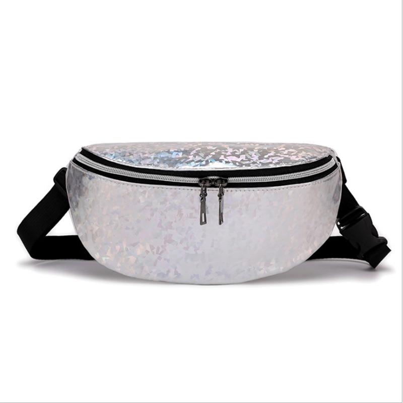Women Waist Packs Laser Chest Waterproof Pouch Sports Pack Fancy Belt Bags