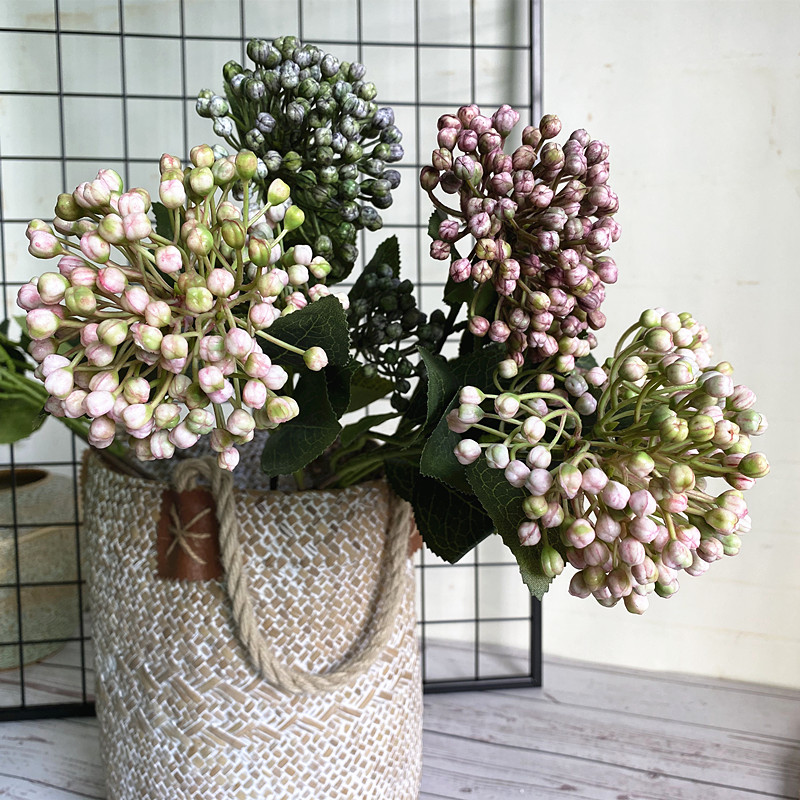 NEW Artificial Hydrangea Fruit Branch With Green Leaves Plastic Fake Plants Home Garden Decoration Flores