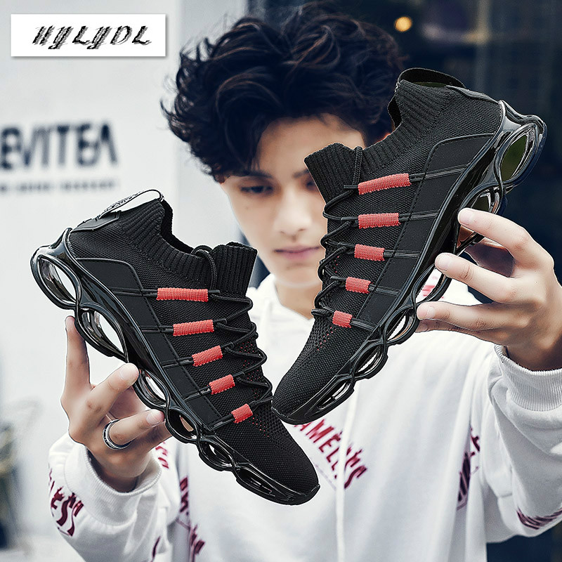 Shoes Men Sneakers New Fishbone Blade Shoes For Men Running Outdoor Breathable Walking Jogging Sport Shoes Zapatills Plus Size