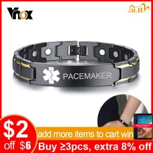 Vnox PACEMAKER Mens Medical Alert ID Bracelets Black Stainless Steel Pain Relief Energy Emergency Reminder Personalized Jewelry
