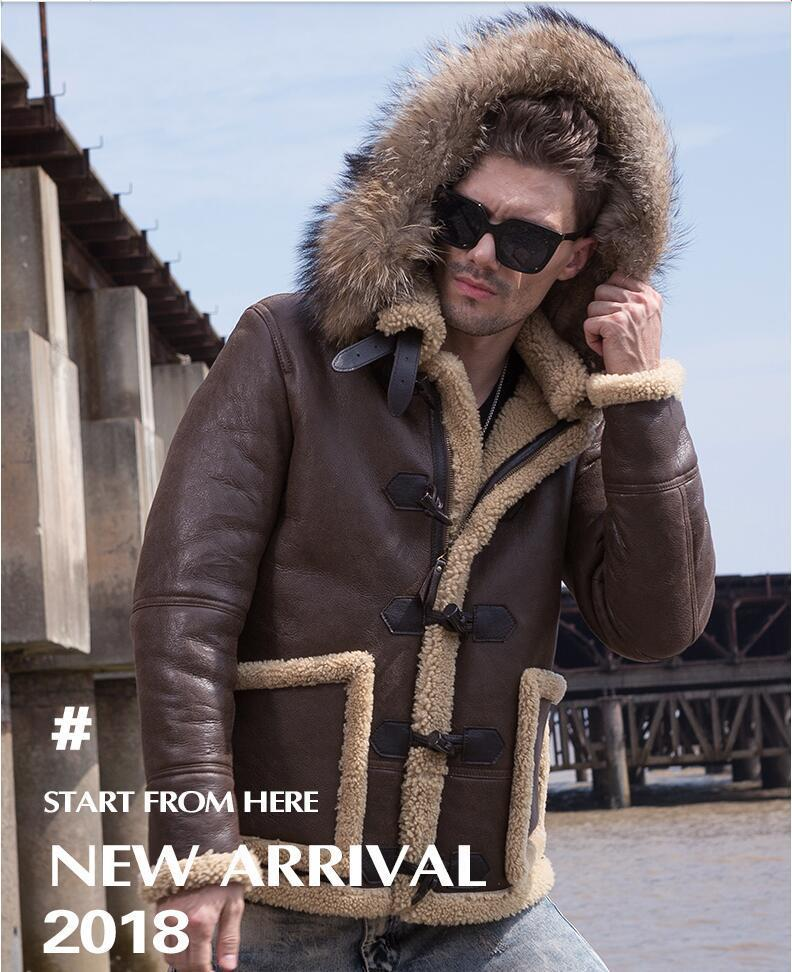 Real Raccoon Fur Men Winter Fur Coat Leather Jacket Men's Sheep Leather Coat Brown Chaquetas De Cuero Genuino Para Hombre