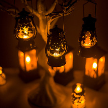 Halloween Led Lantern Vintage Witch Castle Light Lamp Party Hanging Decor Portable Small Oil LED Night