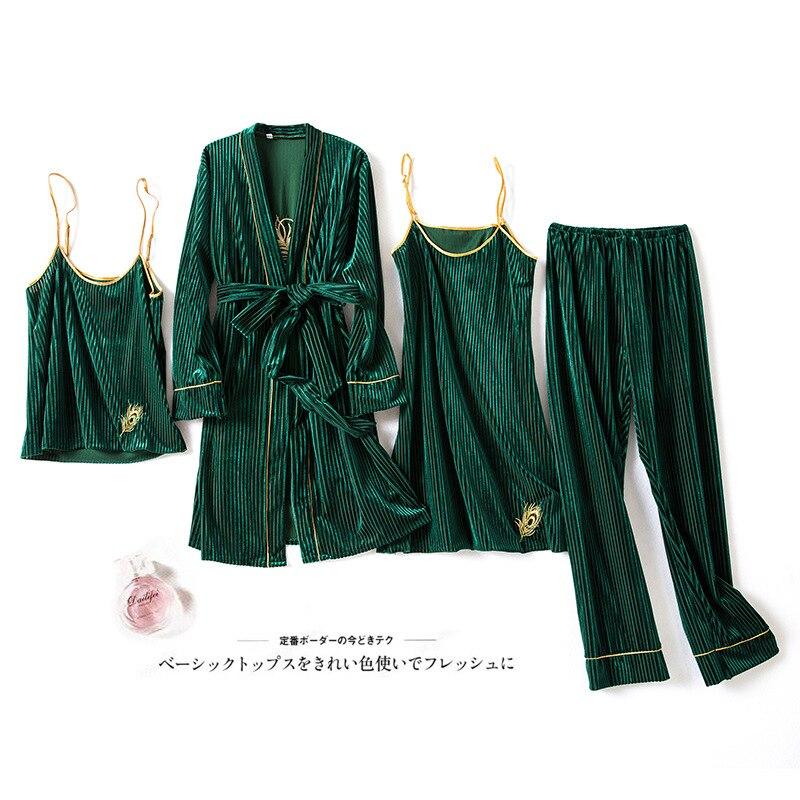 Women 4PCS Pajamas Suit Sleepwear Autumn Winter Soft Velour Green Lace Nightwear Homewear Velvet Home Clothing Sleep Set