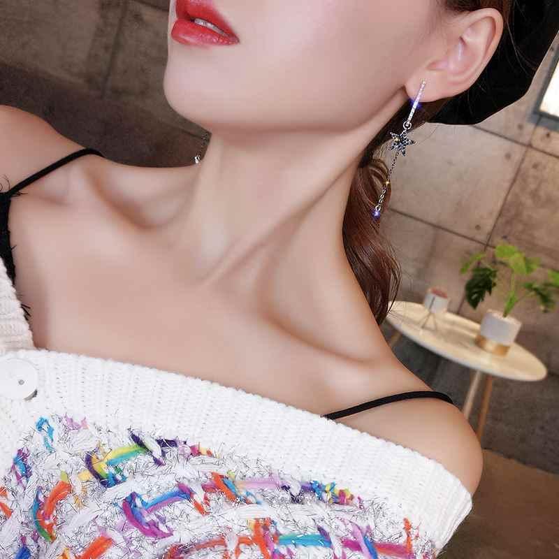 גיאומטרי פשוט עגילי 925 אישיות אופנה כוכב מחומש ציצית אוזן ציפורניים חדש 2019 כוכבים ירח אוזן תכשיטי גבוהה איכות