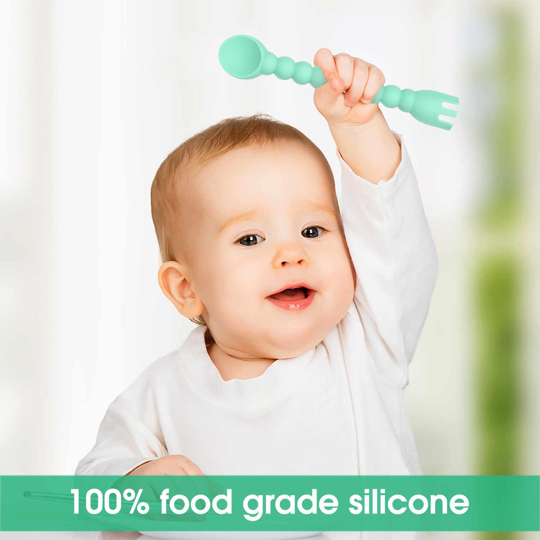 2019 ใหม่ที่ดีที่สุดขาย Cutie ซิลิโคนช้อนส้อมเด็ก 2-In-1 Self-Feeding เด็กช้อนเครื่องมือห้องครัว Gebruiksvoorwerpen ในครัวเรือน
