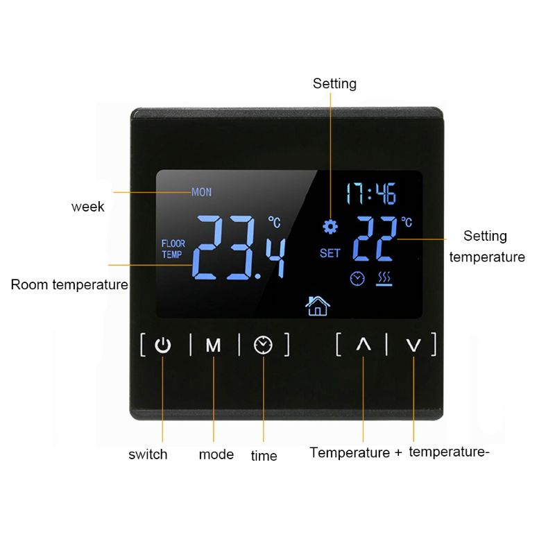 High-power Electric Heating Floor Heating Thermostat Touch Screen Black Backlight Dual-temperature Dual-control Floor Heating