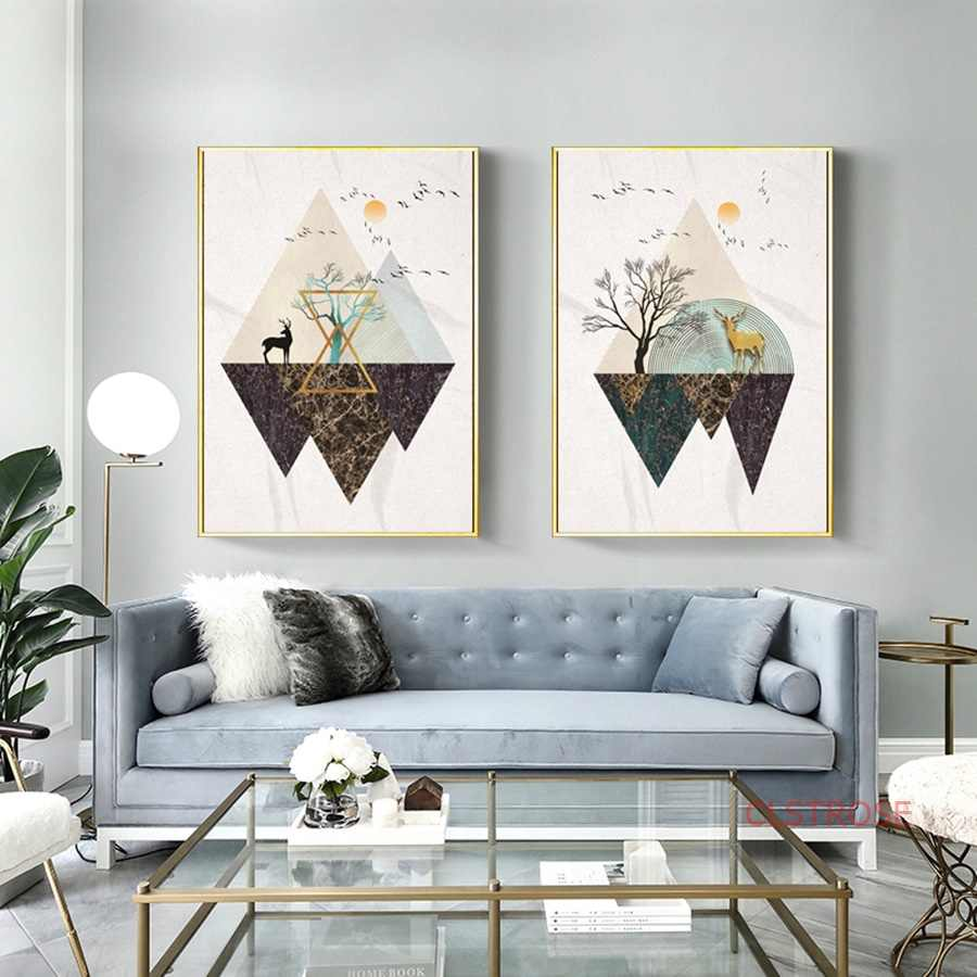 Minimalist Geometric Nordic Style Abstract Art Poster Landscape Canvas Painting Modern Home Decoration Wall Pictures For Bedroom