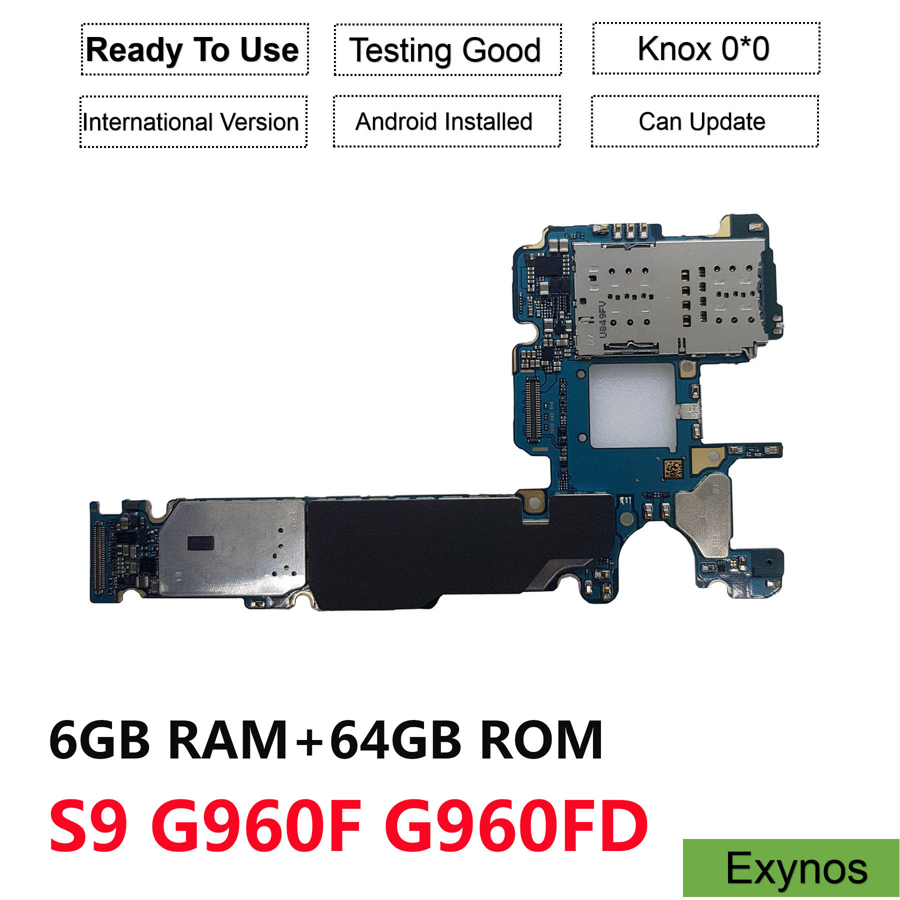 Оригинальная материнская плата для samsung Galaxy S9 G960F G960FD (G960F/DS) 64 Гб разблокированная материнская плата с двумя sim картами (Exynos