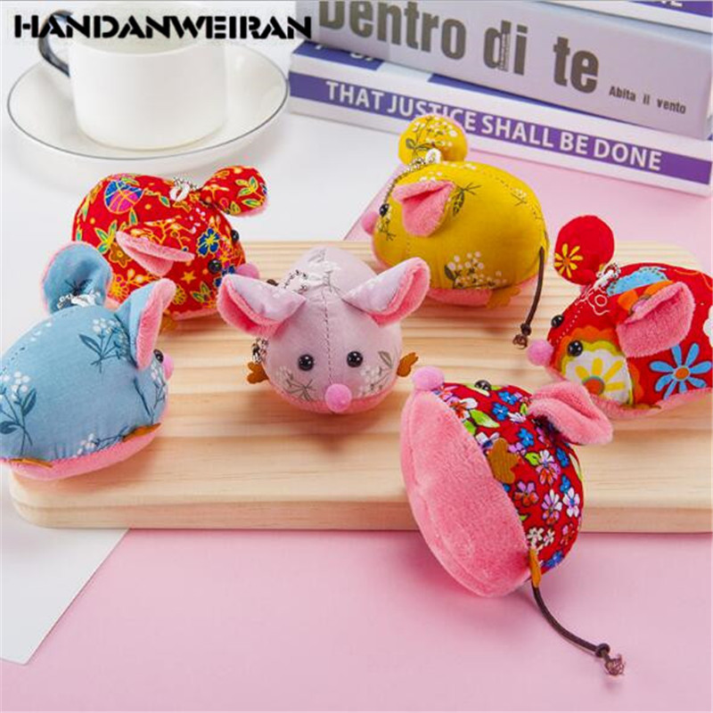 1 Pcs New 2020 Year Of The Rat Mascot Flower Fabric Mouse Mouse Pendant Animal Filled Pendant Holiday Gift For Girls&Boys&Childs
