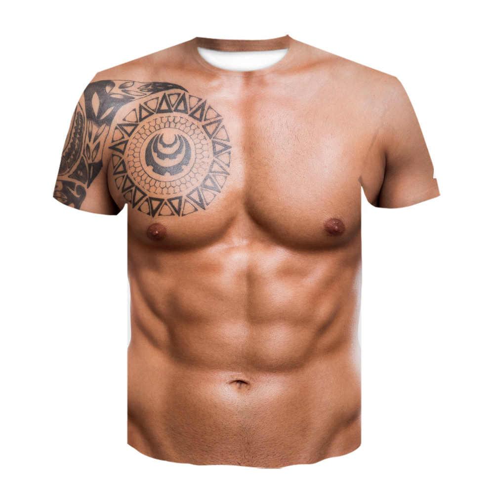 최신 하라주쿠 3D 인쇄 티셔츠 보디 빌딩 시뮬레이션 근육 문신 티셔츠 재미있는 하라주쿠 반소매 힙합 탑스 s-6xl