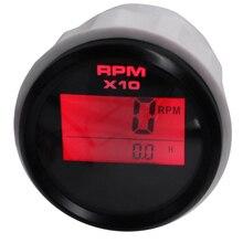 Tacómetro Digital para coche y barco, medidor de hora, retroiluminación de 8 colores, 52MM, resistente al agua, 0 9990 RPM, para diésel, camión, motocicleta marina