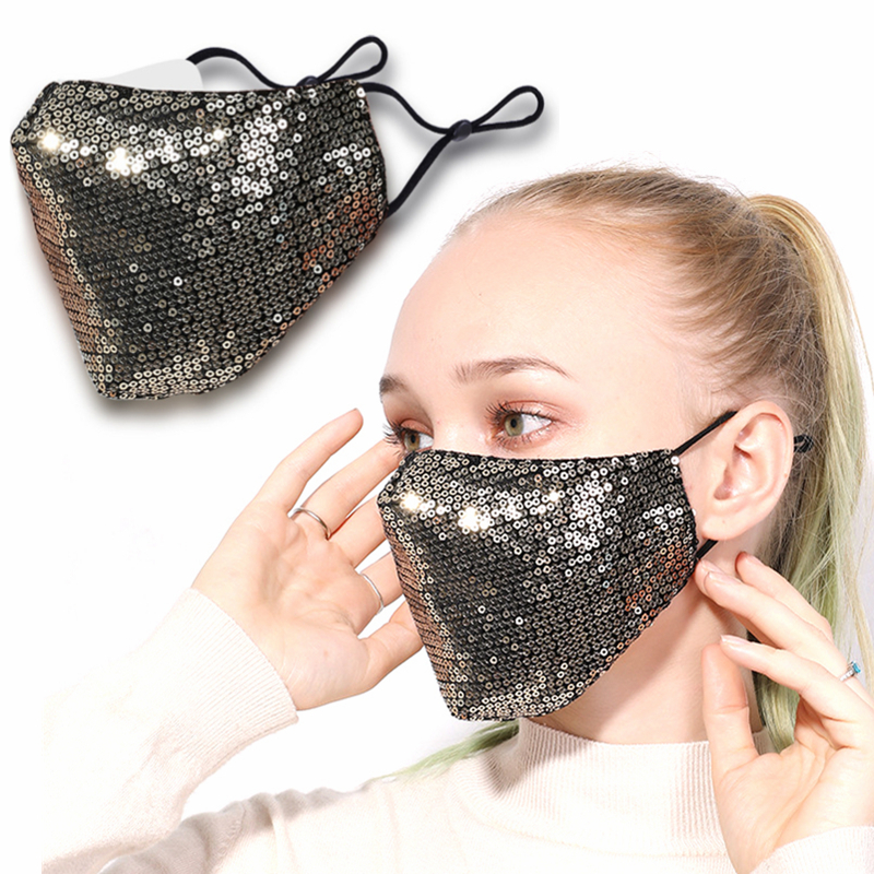 1PCS Bling Bling Sequins Protection Mask New PM2.5 Dustproof Mouth Mask Washable Reuse Face Mask Elastic Earloop Mouth Mask