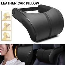 Assento de carro encosto de cabeça descanso de viagem pescoço travesseiro de couro do plutônio auto carro pescoço travesseiro de espuma de memória descanso de pescoço almofada de encosto de cabeça