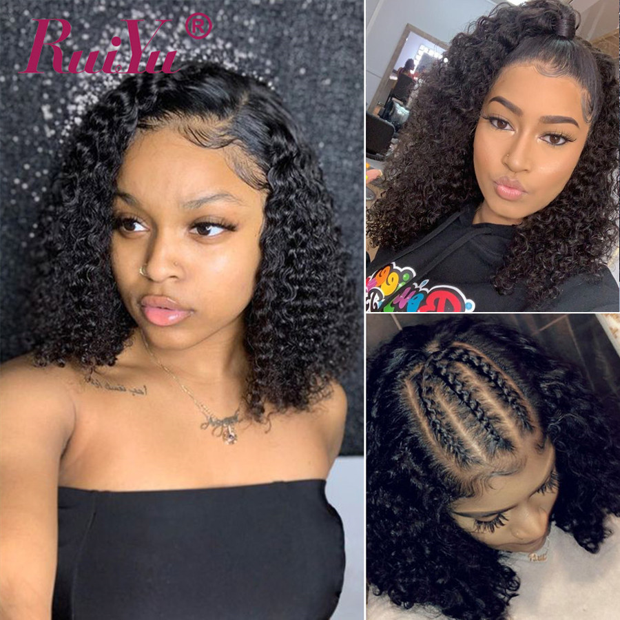 Curly Bob Wig Lace Front Human Hair Wigs Short Bob Wigs Pre Plucked 13x6 Lace Front Wig Remy Brazilian Hair Wigs RUIYU Hair