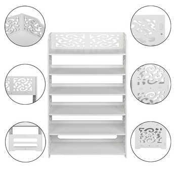 Shoe Rack Wood-plastic Board Six Tiers Carved Shoe Rack Storage Cabinet Living Room Furniture White B