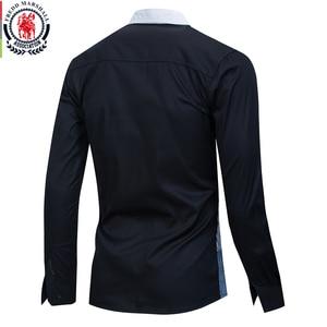 Image 2 - Fredd מרשל 2020 אביב חדש טלאי חולצה גברים מזדמן חברתי ארוך שרוול שמלת חולצה זכר 100% כותנה צבע בלוק חולצות 215