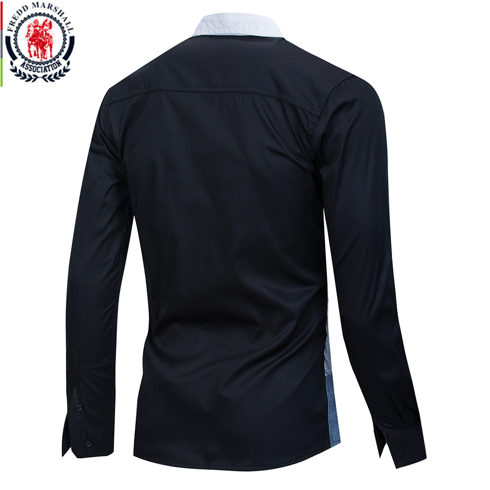 Image 2 - Fredd Marshall 2020 Spring New Patchwork Shirt Men Casual Social Long Sleeve Dress Shirt Male 100% Cotton Color Block Shirts 215Casual Shirts   -