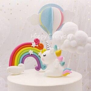 Rainbow Unicorn Cake Topper Birthday Wedding Cake Flags Cloud Balloon cake flag Birthday Party Baking Decoration Supplies(China)